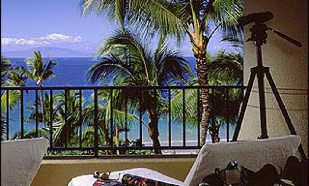 Balkong med utsikt på Maui.