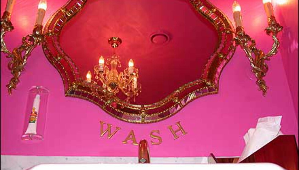 Damenes toalett er et sjokkrosa syn, og i veggen står en tannkremtube med champagnesmak.