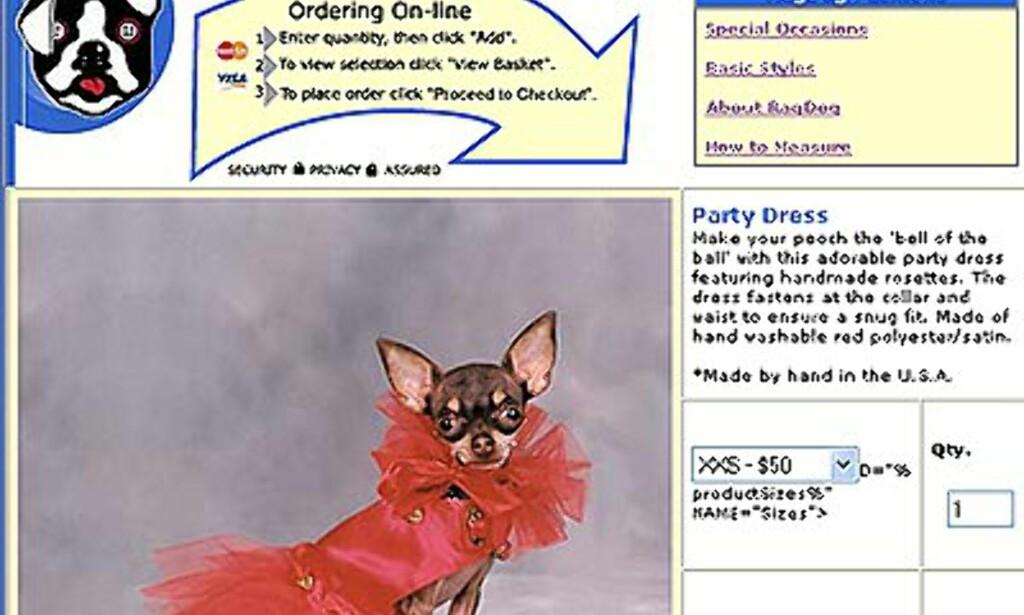 Partydress fra Rag-dog.com. Fra 50 til 58 dollar avhengig av størrelse.