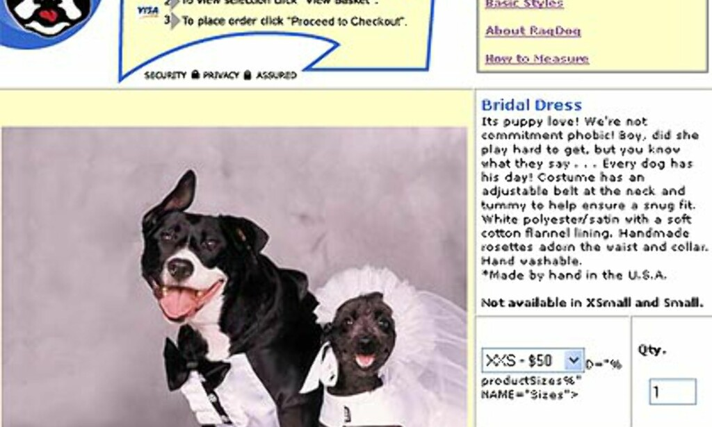Brudesett fra Rag-dog.com. Priser fra 50 til 58 dollar avhengig av størrelse.