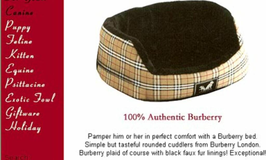 Burberry seng fra 80 til 150 dollar avhengig av størrelse. Hos Uptownpets.com