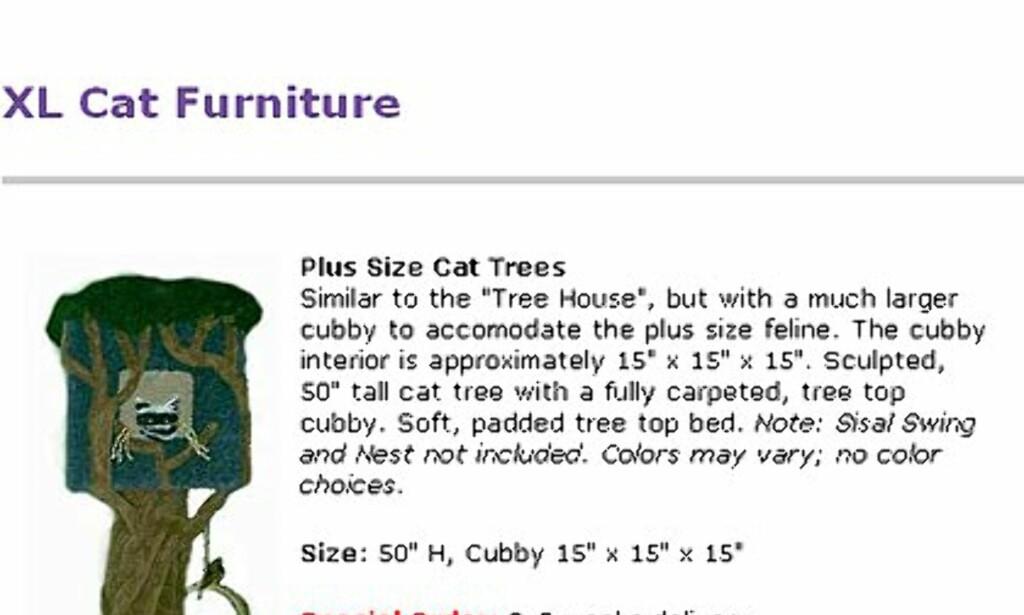 Feite katter trenger solide møbler. Hos Fatcatfurniture.com finner du utvalget. Prisen på denne er 280 dollar.