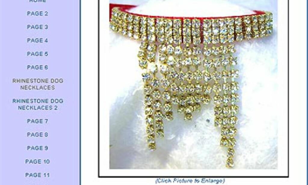 Gigantisk hundehalsbånd med mye glitter fra Rhinestonedogcollars.net. Pris er cirka 32 dollar.