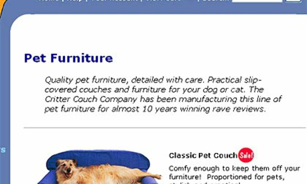 Ekte hundesofa: Dogbedworks.com. Fås i utallige farger og kombinasjoner. Prisen på denne modellen varierer fra 229 til 369 dollar avhengig av størrelse.