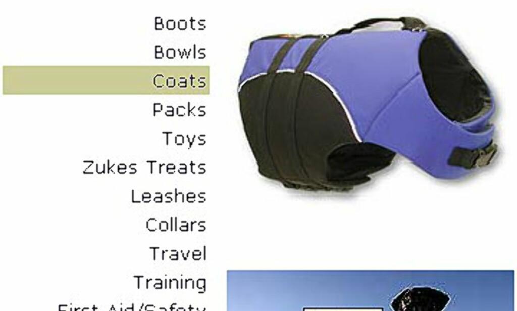 Endelig noe virkelig nyttig: Redningsvest: Selges hos Ruffwear.com. Pris fra 50 – 70 dollar.