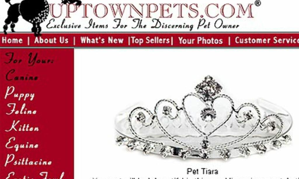 Tiara til katten? Uptownpets.com. Pris kun 20 dollar.