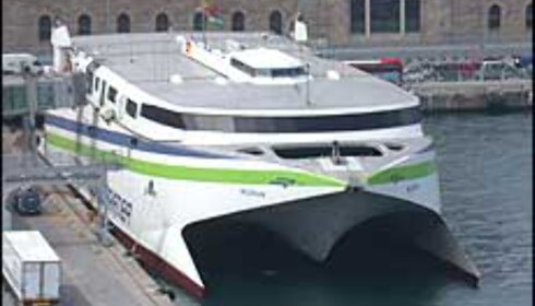 Hurtigbåt som går mellom Barcelona og Mallorca.