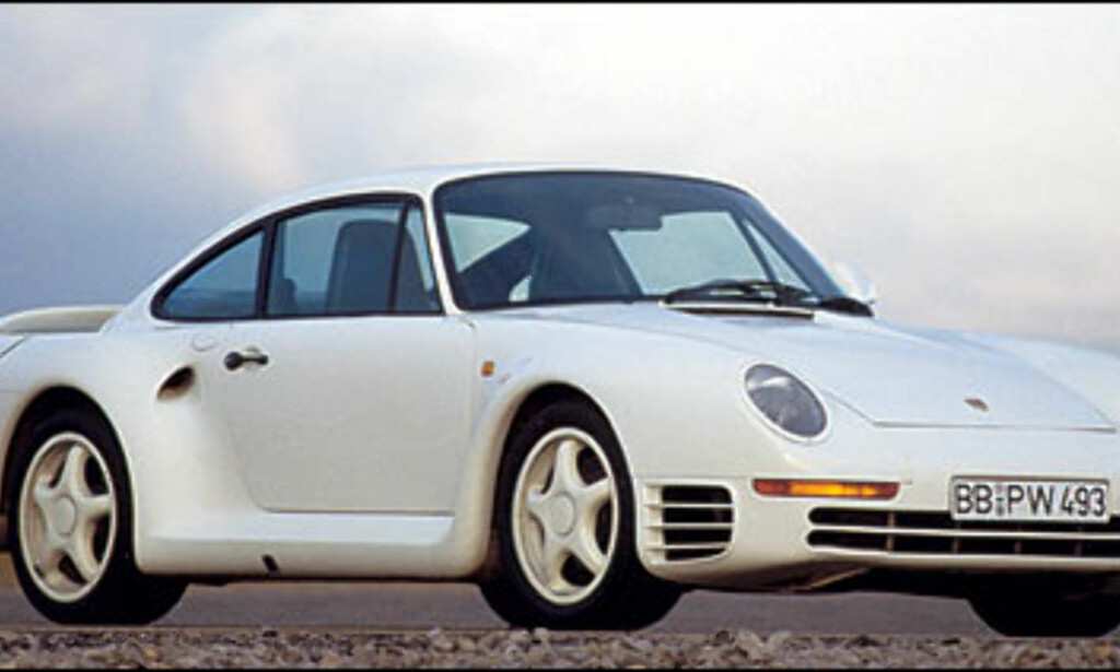 1986: Porsche 959. Dette var den raskeste Porschen da den ble vist for puiblikum.