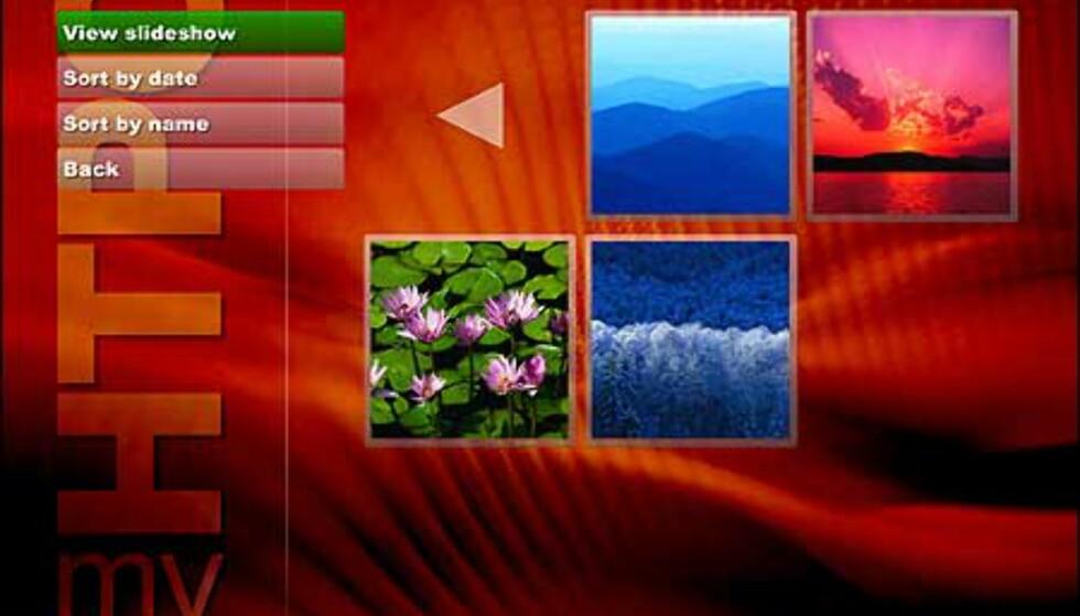 Bildebrowsing. Velger du View slideshow vises hvert bilde i fem sekunder, og tones ned før nytt bilde kommer. Utrolig lekkert!