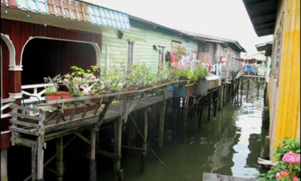 Blomsterdekorasjoner er det mange av i Malaysia - så også i vannlandsbyene.