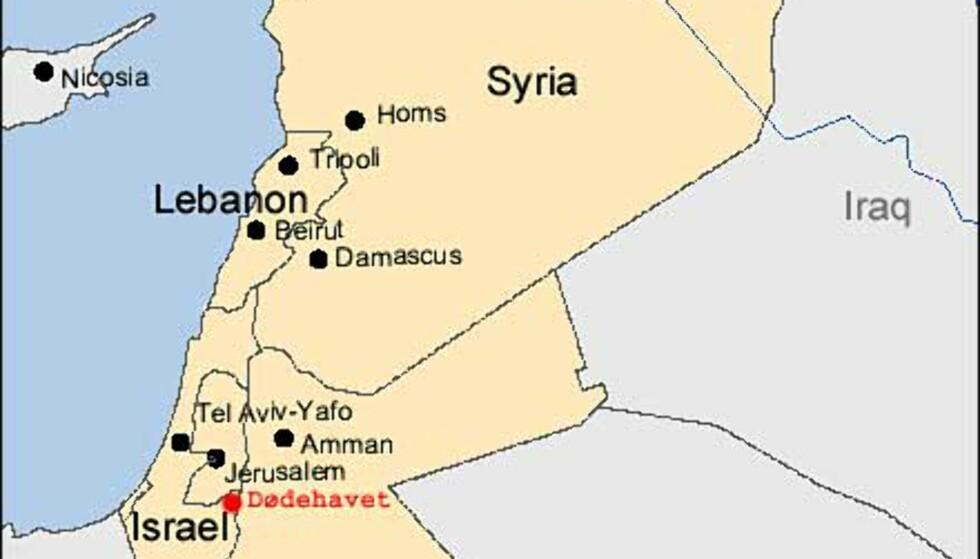 Den israelske dødehavsveien (kart)