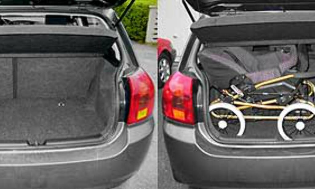 Både barnevogn og en liten koffert får fint plass i bagasjerommet.