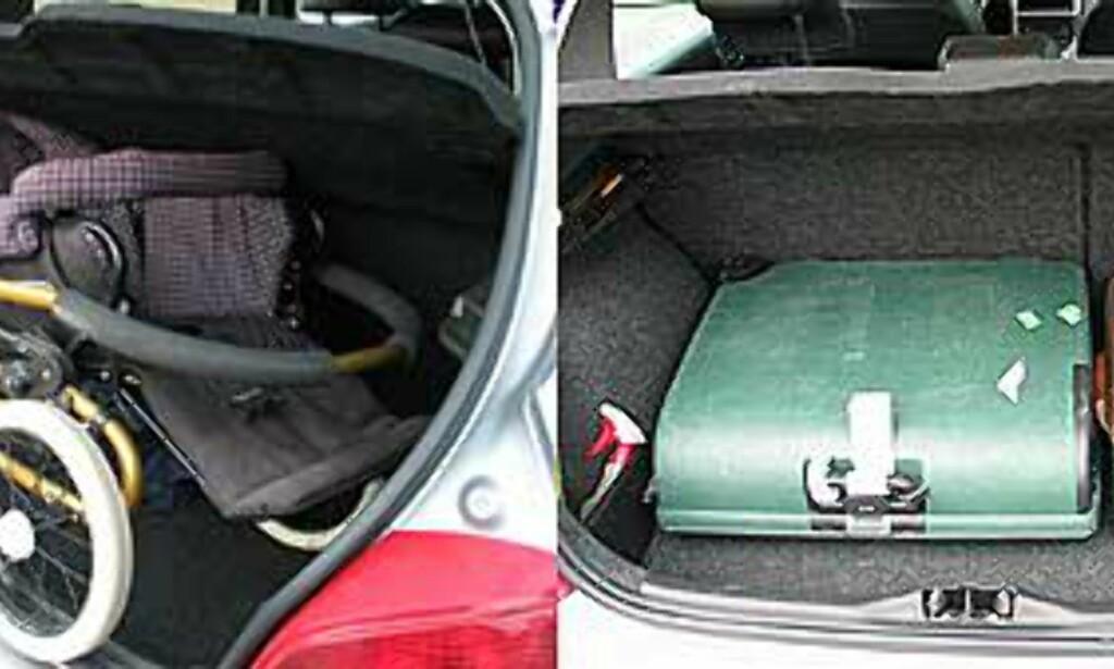 Lasterommet var for lite til vår barnevogn, men dypt nok til at våre testkofferter fikk plass ved siden av hverandre, liggende. Det gir mye plass til overs i høyden.