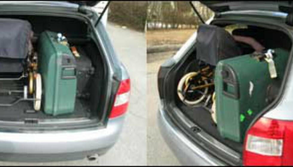 Det ble trangt, men vi fikk så vidt smekket igjen bakluka etter at vi hadde plassert barnevogn og to kofferter i lasterommet.
