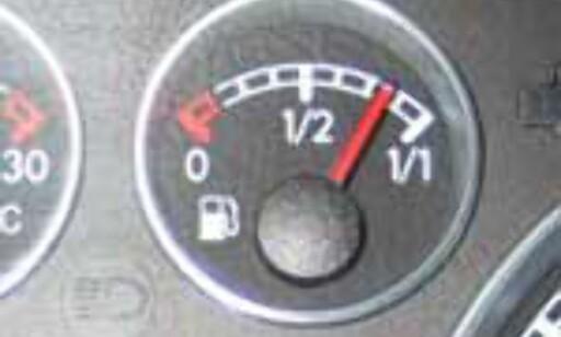Slik skulle alle drivstoffnåler pekt etter 27 mil.