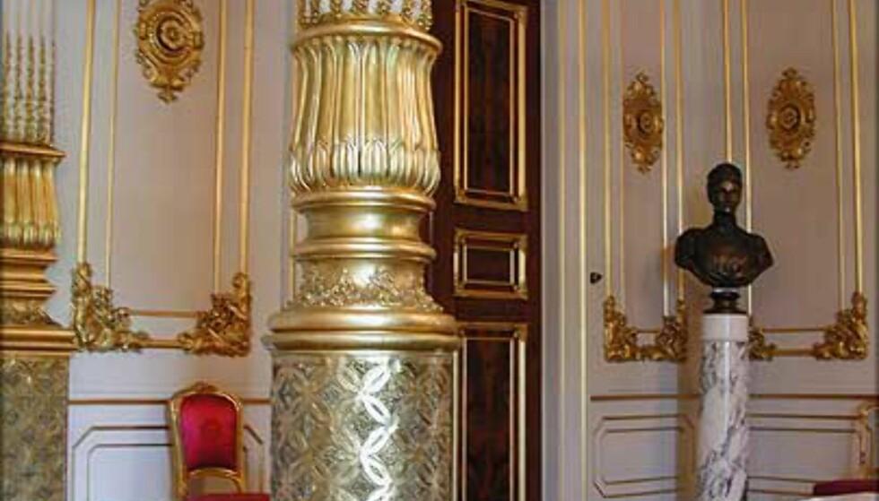 DEN HVITE SALONG: Bak tronstolen i Statsrådssalen går døren inn til Kongens venterom i det som opprinnelig var et av slottets dyreste rom. Her er det luksuriøse mahognidører, eksklusiv dekor i pappmache (!) og svært detaljerte takmalerier. Opprinnelig var rommet en del av Dronningens leilighet.
