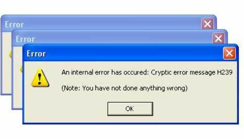 Feilmelding: Du har ikke gjort noe galt.
