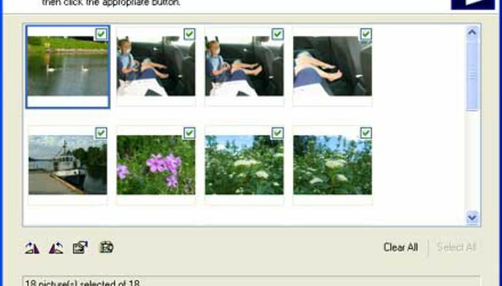 I Windows XP kan du overføre bildene ved hjelp av en veiviser, og du trenger faktisk ikke installere drivere til kameraet i det hele tatt.
