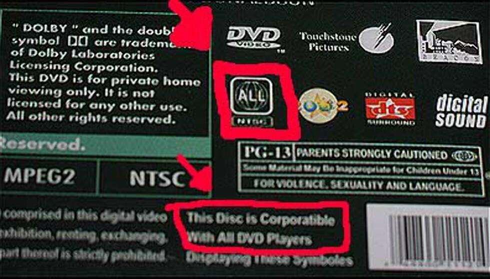 Sonefrie filmer som går på alle DVD-spillere = sikkert pirattegn.