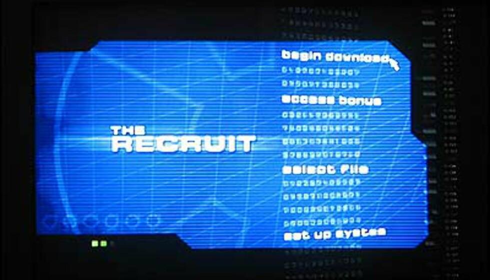Kjedelig DVD-meny på The Recruit
