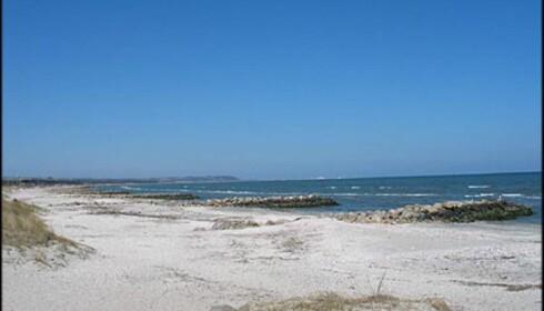 Utsikt fra Sæby Strand til Fredrikshavn. Det er om lag en mil mellom de to byene.