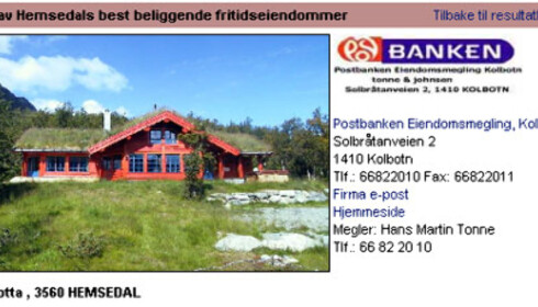 Denne røde Hemsedal-hytten kan bli din for 6,8 millioner kroner. Faksimile fra www.tinde.no