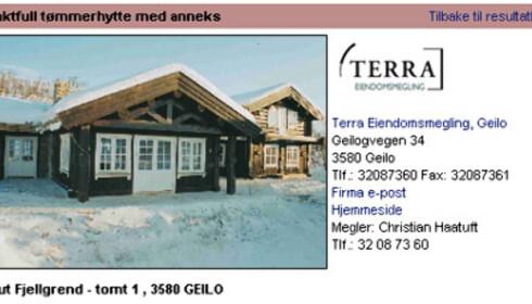 Kikut fjellgrend. Hytte til 8,9 millioner kroner. Faksimle fra www.tinde.no
