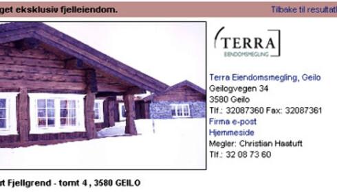 Kikut - hytte til 11 millioner kroner. Faksimile fra www.tinde.no