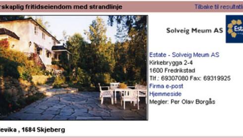 Mer til sjø enn fjell? På Hvaler får du denne til 9 millioner kroner. Faksimile fra www.tinde.no