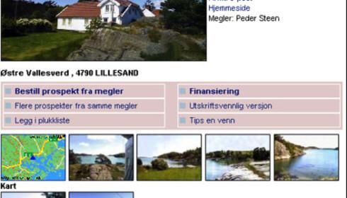 Sjøeiendom i Lillesand. 8 millioner kroner. Faksimile fra www.tinde.no
