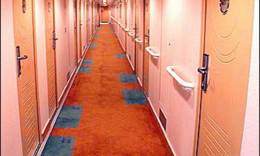 Korridor til lugarer.