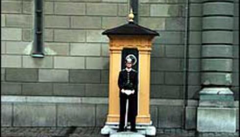 Gardister vokter Kungliga Slottet i Stockholm, der du blant annet finner riksregaliene.