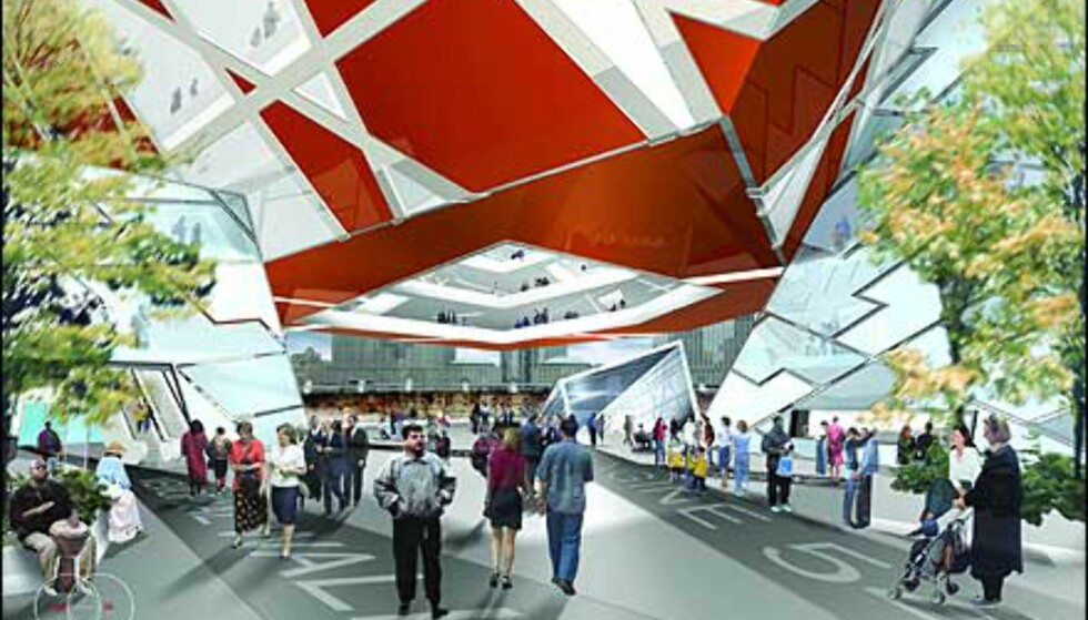 Libeskinds inngang til museum på området. Foto: Ikke bruk