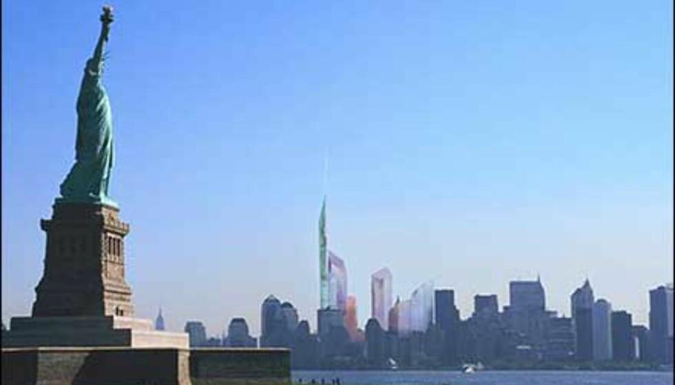 Libeskinds utkast plassert i New York skyline. Foto: Ikke bruk