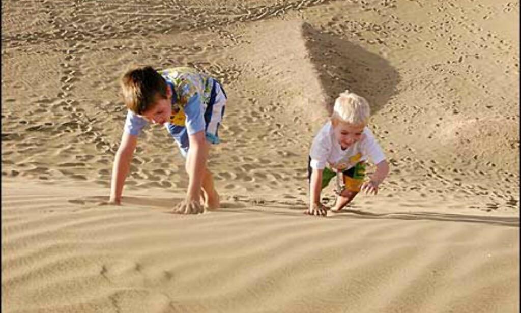 Vidar Hadland har knipset barna i sandynene i Maspalomas på Grand Canaria. Blodferske bilder - de er tatt nå i januar. Foto: Vidar Hadland