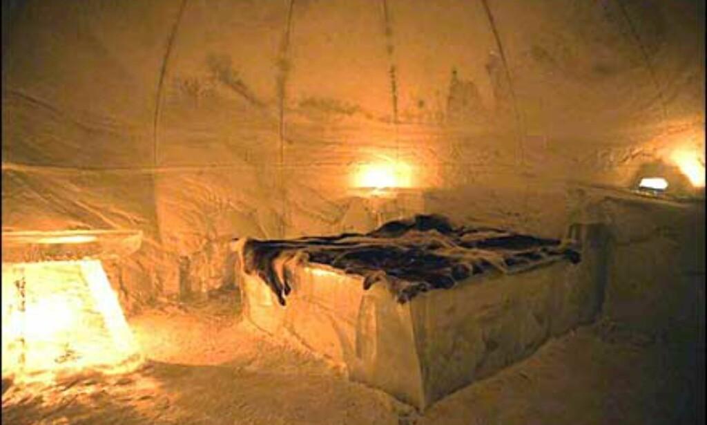 Isseng og reinskinn. Men frykt ikke - under skinnene ligger ordinære madrasser, og du får utdelt termosovepose. Foto: Alta Igloo Hotel Foto: Alta Igloo Hotel