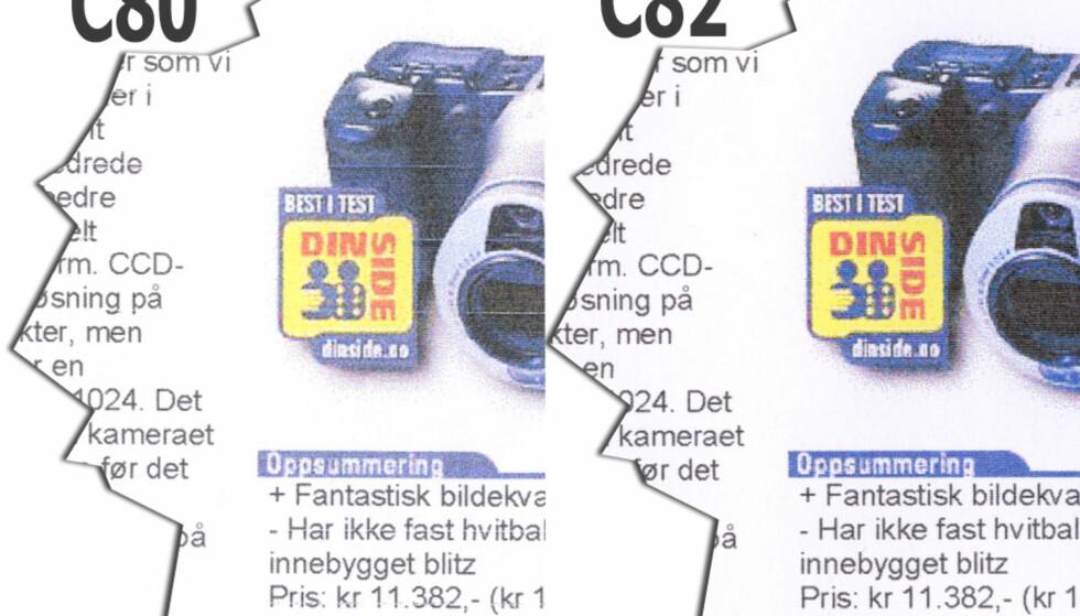 Her ser du en utskrift i raskeste modus fra C82 sammenlignet med forgjengeren C80. Langt bedre, men duger fortsatt ikke til annet enn kladd. Klikk på bildet for å se stor utgave.