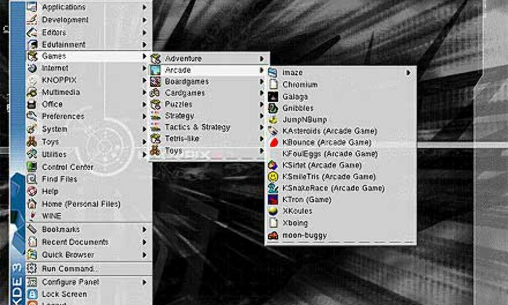 Knoppix inneholder et utall spill for en hver smak.