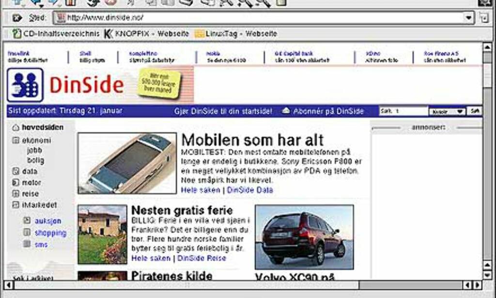 Konquerer er også en nettleser, og en riktig bra som sådan. Vi foretrekker denne foran Mozilla, som også følger med.