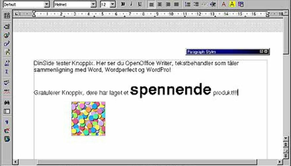 OpenOffice.org følger selvsagt med. Denne suiten med kontorprogrammer er meget omfattende og bra! Her ser du et skjermbilde fra tekstbehandleren OpenOffice Writer.