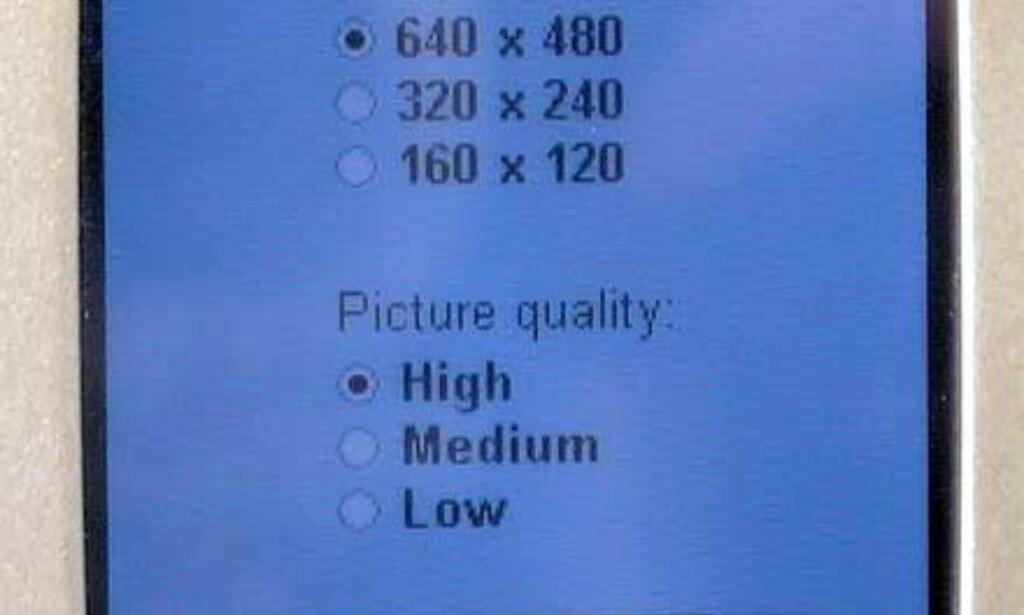 Her kan du velge kvaliteten på bildene