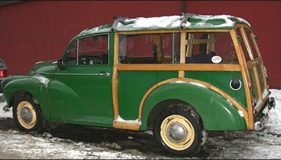 VETERANBILPARK: Den norske bilparken er blant Europas eldste. Den norske gjennomsnittsbilen er hele 10 år gammel. Denne, en Morris Minor, er enda eldre. Legg forresten merke til de flotte hodestøttene i baksetet.