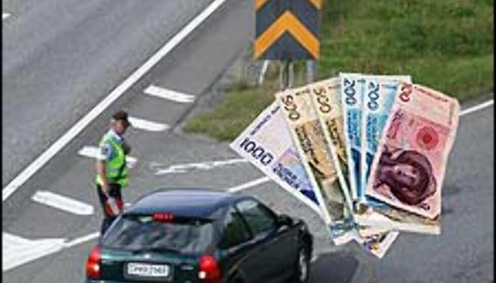 3.500 KR: Ulovlig forbikjøring er blant syndene som nå koster 3.500 kroner, en økning på 500 kroner. Bildet er manipulert.