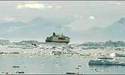 Hurtigrute i isen i Antarktis. Foto: Michelle Opshaug Foto: Michelle Opshaug