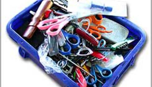 Beslaglagte gjenstander fra sikkerhetskontrollen på Gardermoen. Foto: Karoline