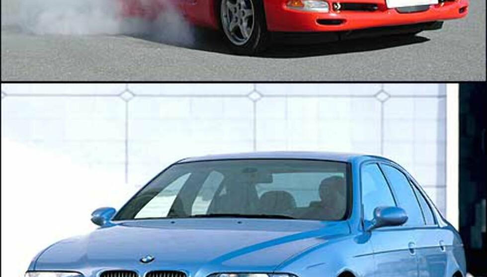 Test ytelsen med egen bil (spesielt om du har en med litt trøkk - som øverste bilde), eller bli fraktet rundt banen i en råsprek BMW M5 (samme type som nederste bilde).