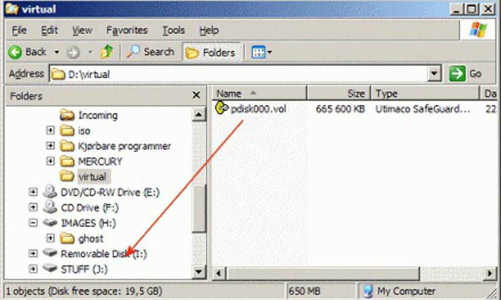 Her ser du at den virtuelle filen ligger lagret i D:\\virtual, og er samtidig montert som stasjon I: