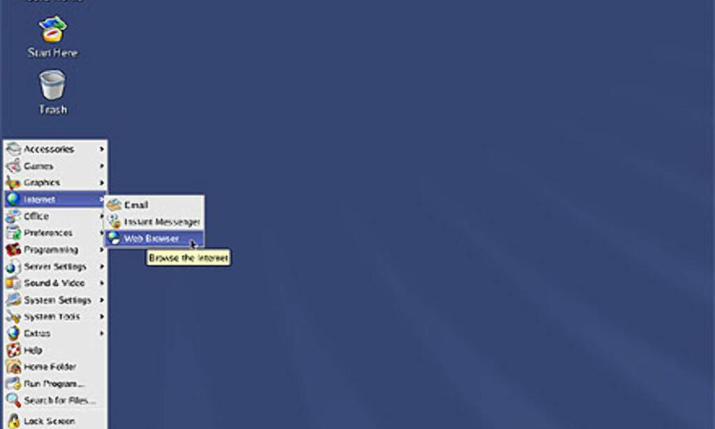 Skrivebordet i RedHat Linux 8.0 har fått helt nye ikoner, og er skikkelig lekkert. Mange vil hevde at RedHat har hentet inspirasjon både fra Windows XP og MacOS 10.