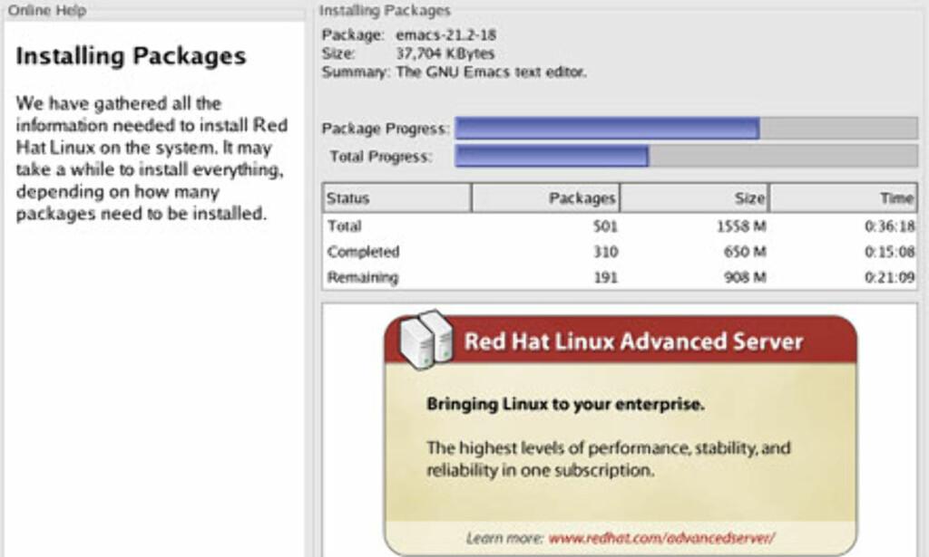Fra installasjonen. Her kan du velge hvilke programpakker som skal installeres. Velger du Desktop-installasjon kan du regne med max en halv times installasjonstid på en moderne PC. Du bør i tillegg ha 128 MB minne for å få Linuxen til å jobbe kjapt og greit.