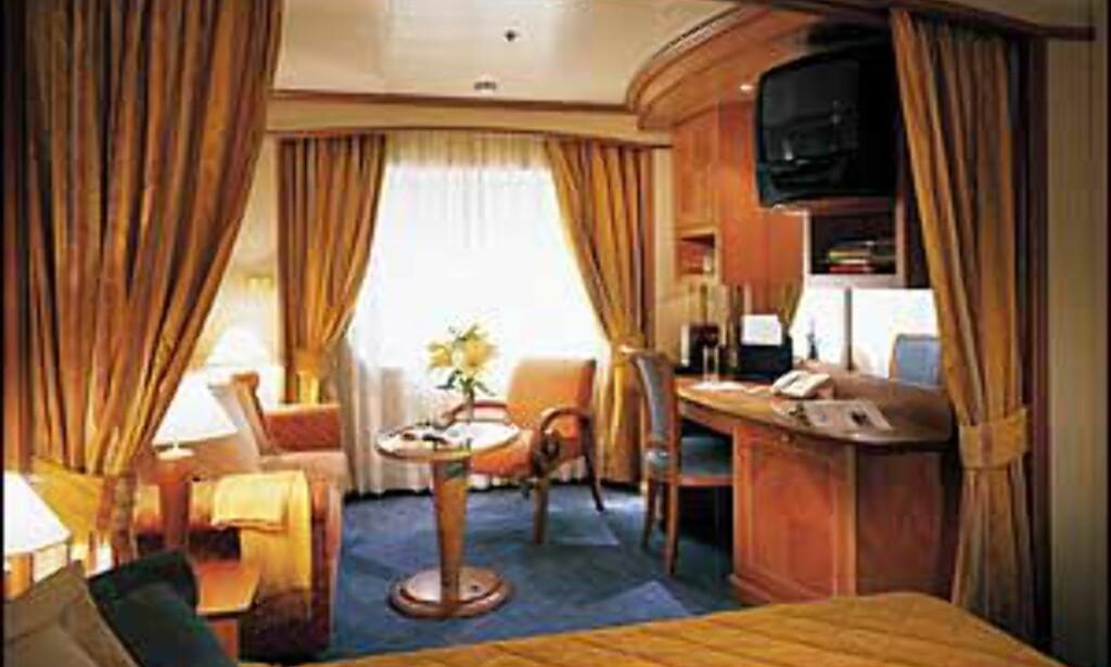 Suite ombord på Silverseas skip.